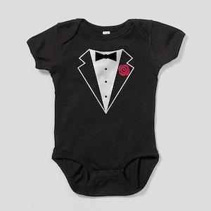 Funny Tuxedo [red rose] Baby Bodysuit